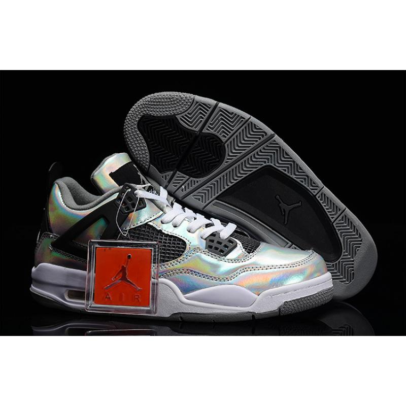 "new style 0c96c 15679 Best Discount New Air Jordan 4 Retro ""Prism"" Metallic Silver/Black-White"