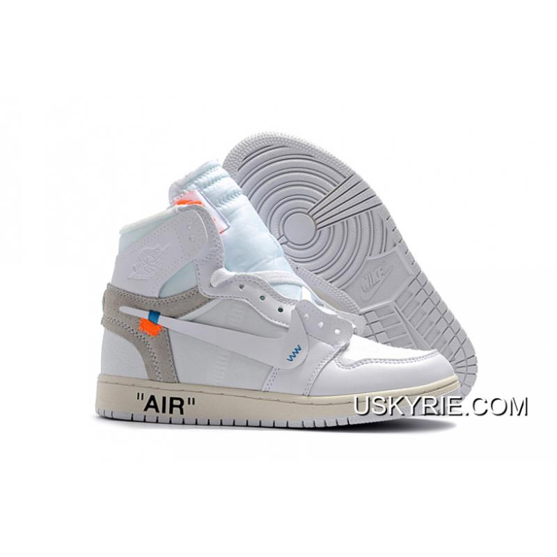 "82af4b536f558 Women Men Off-White X Air Jordan 1 ""White"" AQ0818-100 Best New ..."