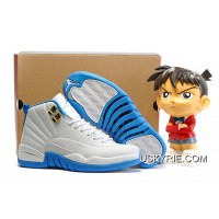 330b8d13d3ad2a Women Air Jordan 12 GS White University Blue Melo Best Super Deals
