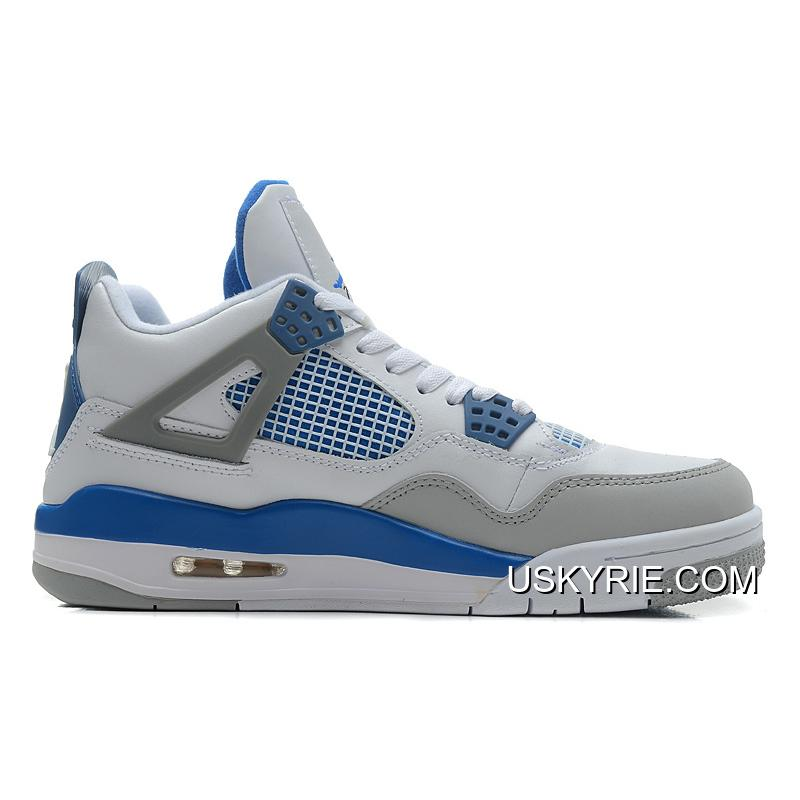 pretty nice f1be7 2cc2f New Air Jordan 4 Retro White/Military Blue-Neutral Grey Best New Year Deals