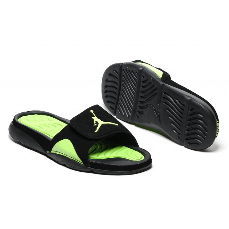 b83868e3009621 Best New Year Deals Air Jordan Hydro IV Retro Black Green Slide Slippers ...