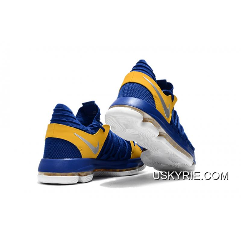 """pretty nice 4ce81 1391f ... Big Deals Nike KD 10 """"Golden State Warriors"""" Blue Yellow-White ..."""