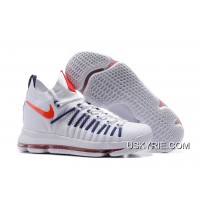 4e8365c33e7 Nike Zoom KD 9 Elite White Dark-Blue Basketball Shoes Best Outlet