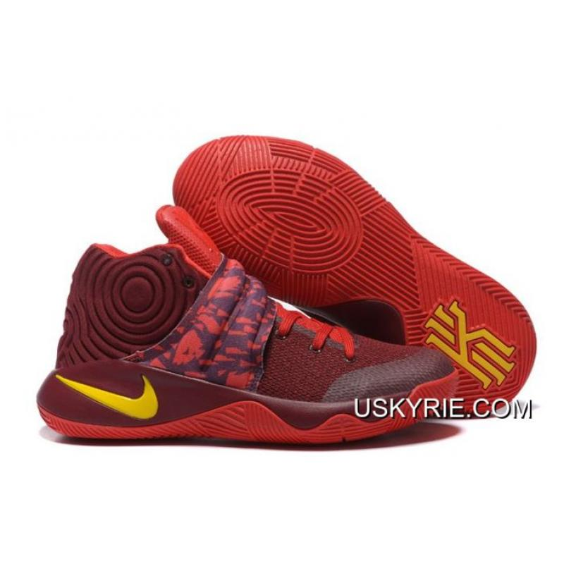 """Best Copuon Nike Kyrie 2 """"Cavs"""" PE Wine Red Yellow ... fb11fa2a3"""