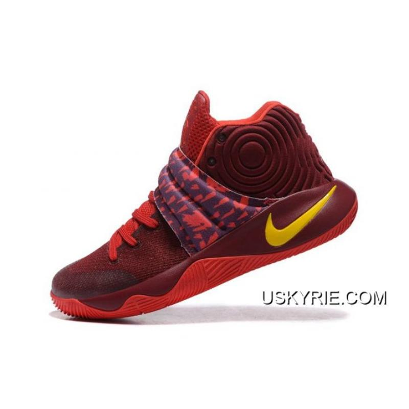 "0c28fa48b585 ... Best Copuon Nike Kyrie 2 ""Cavs"" PE Wine Red Yellow ..."