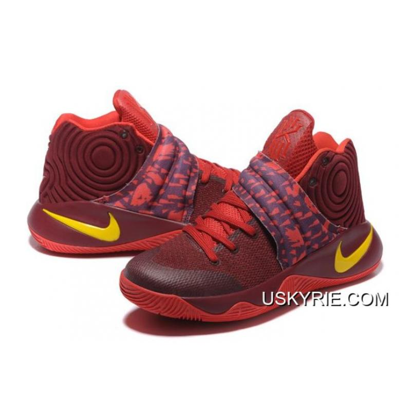 """a8b48ca4723d ... Best Copuon Nike Kyrie 2 """"Cavs"""" PE Wine Red Yellow ..."""