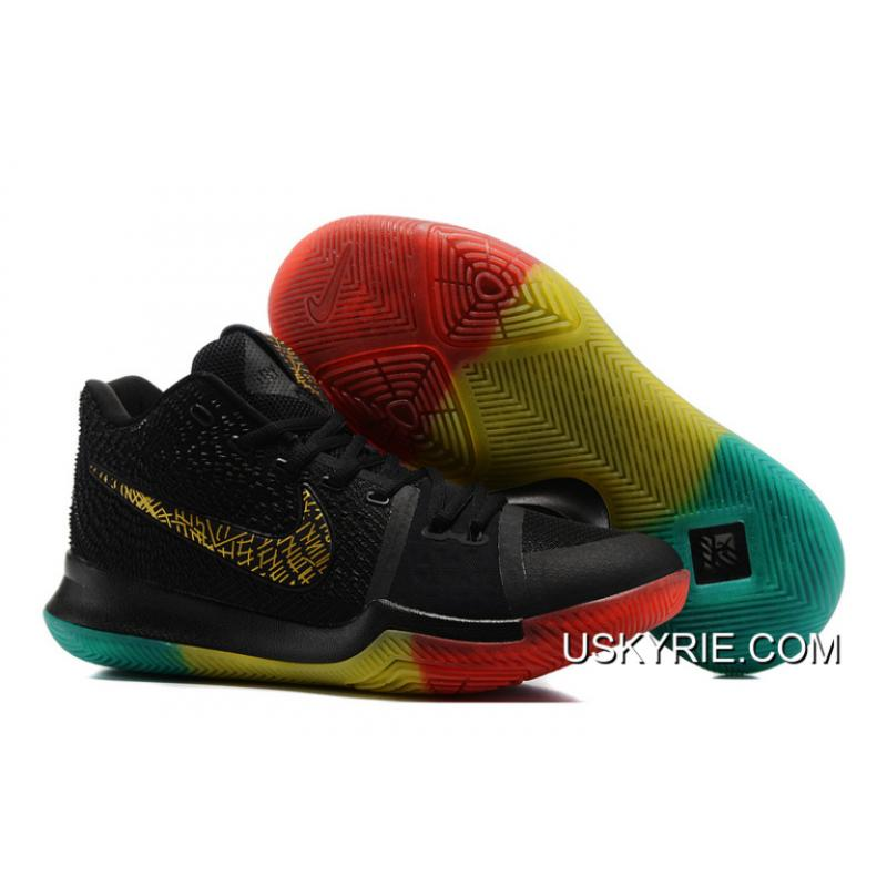 "buy popular cdefb aae7e Best Discount Nike Kyrie 3 ""Rainbow"" Black Gold Pink Grass Green Colorful"